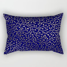 Gold Berry Branches on Navy Rectangular Pillow