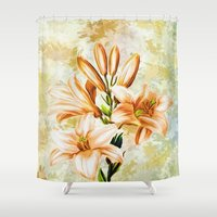 vintage floral Shower Curtains featuring Vintage Floral by Colorful Art