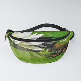 Frog with white lily reflection Fanny Pack