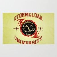 skyrim Area & Throw Rugs featuring Stormcloak University(Skyrim) by Chubbybuddhist
