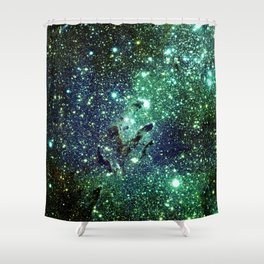 Green Eagle Nebula / Pillars of Creation Shower Curtain