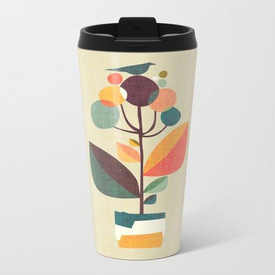 Potted plant with a bird Metal Travel Mug