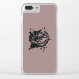Pink Sleeping Cat Clear iPhone Case