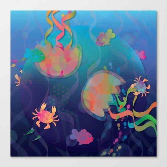 Neon Underwater Party Canvas Print
