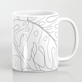 Line Art Monstera Leaves Coffee Mug