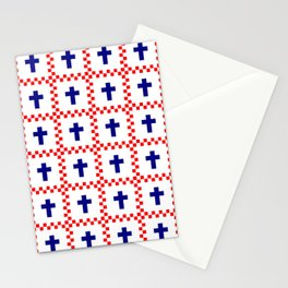 Christian Cross 49 blue and red Stationery Cards