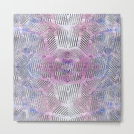 Silver pattern on Charoite mineral texture Metal Print