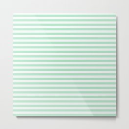 Mint Green & White Stripes Metal Print