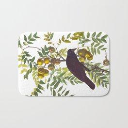 American Crow Vintage Bird Illustration Bath Mat