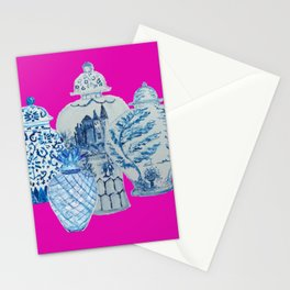 Hot Pink Blue and White Ginger Jars  Stationery Cards