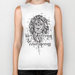 Be Strong & Courageous, Geometric Lion Biker Tank
