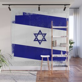 Israeli Distressed Halftone Denim Flag Wall Mural