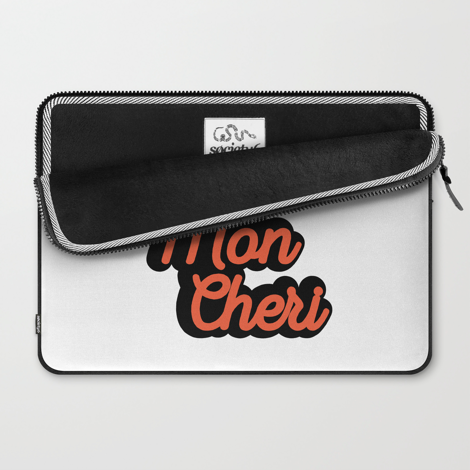 e89012d3 Qui Mon Cheri Quote Laptop Sleeve by thenativestate | Society6