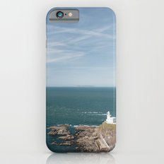 Lighthouse at Hartland Quay with Lundy Island beyond. Devon, UK. iPhone 6s Slim Case