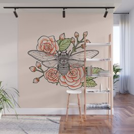 Cicada with Roses - Pink Wall Mural