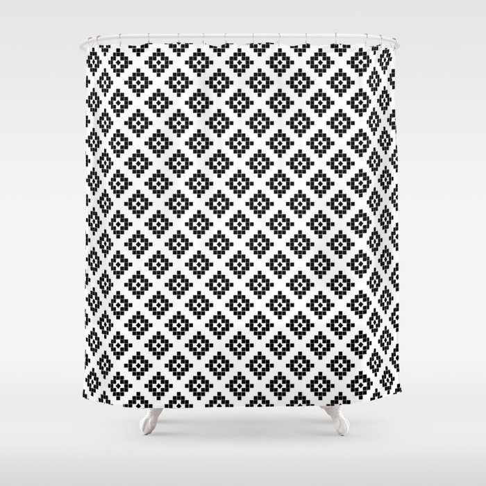 Southwest In Black And White Modern Traditional Geometric Aztec Native Print Design Desert Kilim Shower Curtain