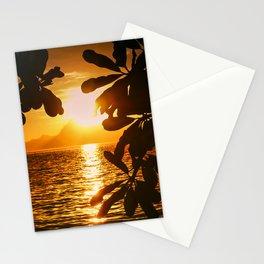 Golden Tahiti Sunset Behind Island Stationery Cards