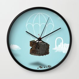 Isolated Chocolate cherry cake with parachute on blue sky background Wall Clock