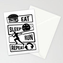 Eat Sleep Run Repeat - Running Runner Fitness Stationery Cards