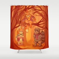 nori Shower Curtains featuring Forest Family by MelColley