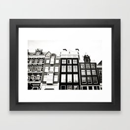 Traditional houses in Amsterdam, Netherlands. Framed Art Print