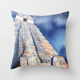 Mayan temple and stelae at UNESCO World Heritage ruins of Tikal- Guatemala. Throw Pillow