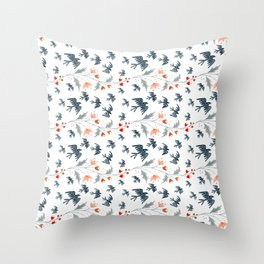 Starlings & Flowers Throw Pillow