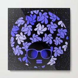 Afro Diva : Indigo Blue Periwinkle Metal Print