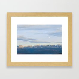 Moon over mountain Framed Art Print