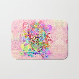 Girly Sugar Skull Pink Glitter Fine Art Paint Bath Mat