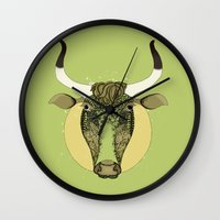 taurus Wall Clocks featuring Taurus by Vibeke Koehler