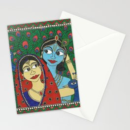 Radha Krishna & peacocks Stationery Cards