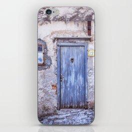 Old Blue Italian Door iPhone Skin