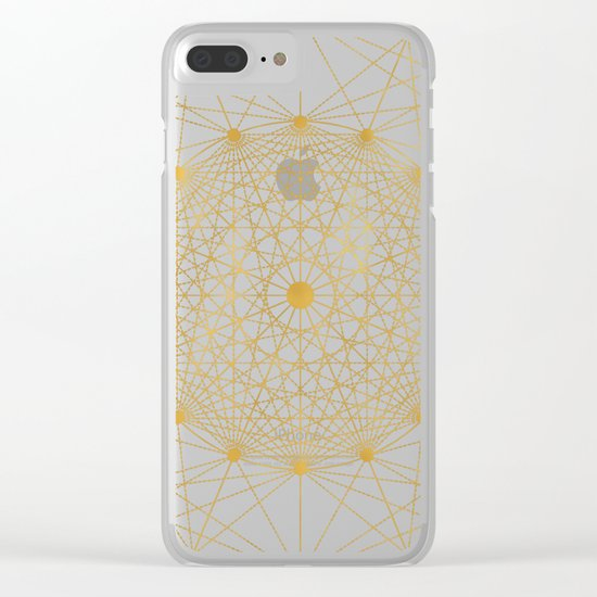 Geometric Circle Black and Gold Clear iPhone Case