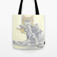 mew Tote Bags featuring Mew by Connie Campbell