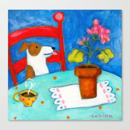 Jack Russel Terrier at table with geraniums Canvas Print