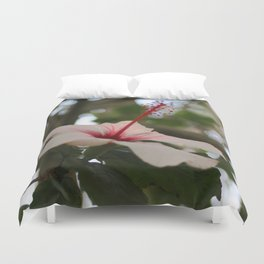 Hibiscus flower on its tree Duvet Cover