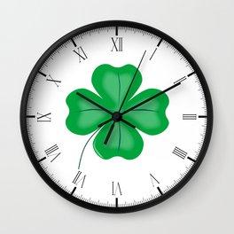 Lucky Four Leaf Shamrock Wall Clock