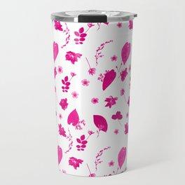 Pink Floral Pressed Flower and Leaf Pattern Travel Mug