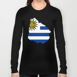 Uruguay Map with Uruguayan Flag Long Sleeve T-shirt