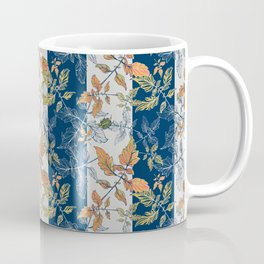 Tomatoes leaves in coral and blue stripes Pantone palette Coffee Mug