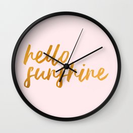 Hello sunshine - Gold and Pink Wall Clock