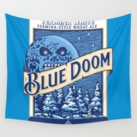 doom Wall Tapestries featuring Blue Doom by Moysche Designs