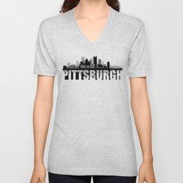 Pittsburgh Silhouette Skyline Unisex V-Neck