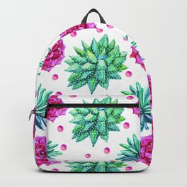 Rose Succulents And Blue-Green Agave Art Pattern Backpack
