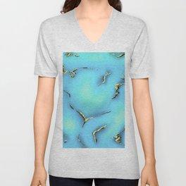 Turquoise with Gold Gemstone Print Unisex V-Neck