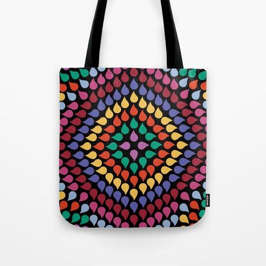 Seamless Colorful Raindrops Tote Bag