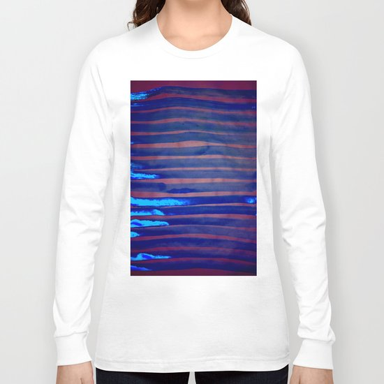 Blue Ice Lines Stripe Long Sleeve T-shirt