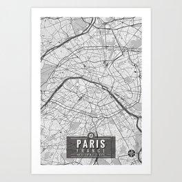 Paris France Map With Coordinates Art Print