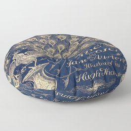 Pride and Prejudice, Peacock; Vintage Book Cover Floor Pillow